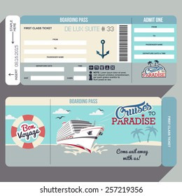Cruises to Paradise. Cruise ship boarding pass flat graphic design template. Face and back side of ticket