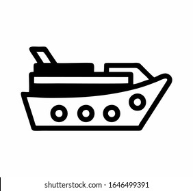 A cruiseship or ocean luxury boat, ferry logo or sign for apps or website isolated design in black and white as a vector