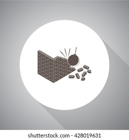 Crumbling wall vector icon