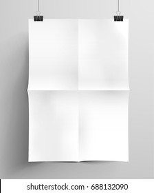 Crumpled blank sheet of paper. Vector illustration