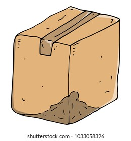 Crumpled cardboard box. A cardboard box sealed with adhesive tape. Uneven box. Vector illustration. Damaged dirty box with a damaged side.