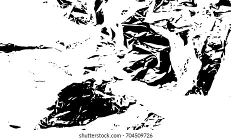 Crumpled dirty black and white texture. Ink Print Distress Background. Monochrome surface for your design. Vector.
