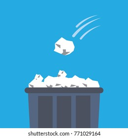 Crumpled paper ball being thrown into the trash bin-vector