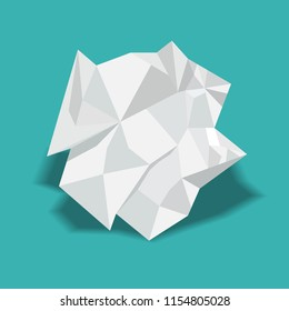 Crumpled paper ball vector illustration.