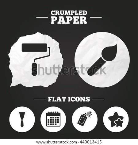 Crumpled Paper Speech Bubble Paint Roller Stock Vector