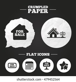 Crumpled paper speech bubble. For sale icons. Real estate selling signs. Home house symbol. Paper button. Vector