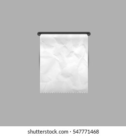 Crumpled Sales receipt. The printed receipt. Bill atm template. Vector