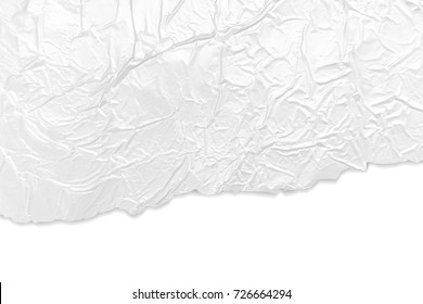 Crumpled silver foil texture - torn paper edges - abstract white grey aluminum metal background vector