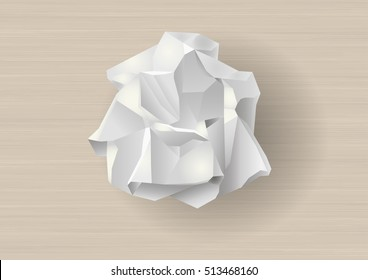 Crumpled white paper. Template for background in vector graphics.