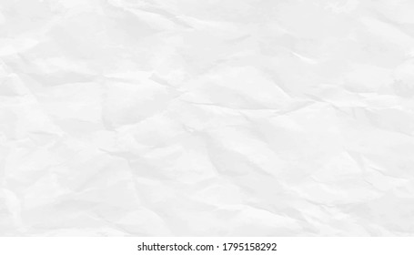 Crumpled white paper texture pattern. Rough grunge old blank. Vector abstract background.