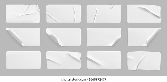 Crumpled white rectangle sticker label set isolated. Blank glued adhesive paper or plastic sticker with wrinkled effect and curled corners. Label tags template for door or wall. 3d realistic vector