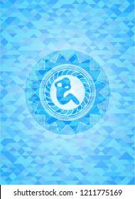 crunch icon inside light blue emblem. Mosaic background