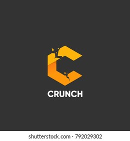 Crunching letter C on a dark background.