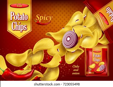 Crunchy 3d potato chips with onion and red chilli pepper. Realistic snack advertising and branding for pack or container. Spicy fried and seasoned eating snack. Product branding theme