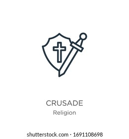 Crusade icon. Thin linear crusade outline icon isolated on white background from religion collection. Line vector sign, symbol for web and mobile