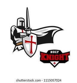 Crusader Holy Knight Mascot Logo