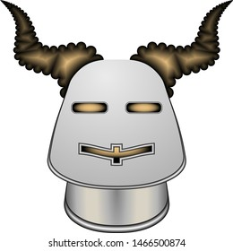 Crusader protective knight helmet made of solid steel with holes for eyes and mouth, decorated with gold and horns bull on a white background.