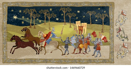 Crusaders warriors and soldiers go to war. Holy Grail. Middle Ages, parchment style. Medieval scene. Historical crusades. Ancient book vector illustration
