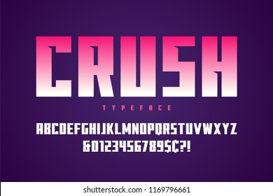 Crush display font design, alphabet, typeface, letters and numbers, typography.