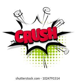 crush hand drawn pictures effects. Template comics speech bubble halftone dot background. Pop art style. Comic dialog cloud, text pop-art. Creative idea conversation sketch explosion.