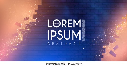 Crushing surface. Abstract geometric and futuristic space background. Broken brick wall with lights. 3D game design template.