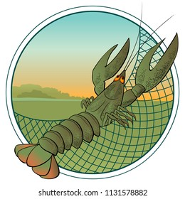 Crustaceans. Crayfishing. Round icon. Crayfish icon  on white background. Restaurant, seafood, fish market. Lobster vector image for kids book cover illustrations. Underwater world wildlife.