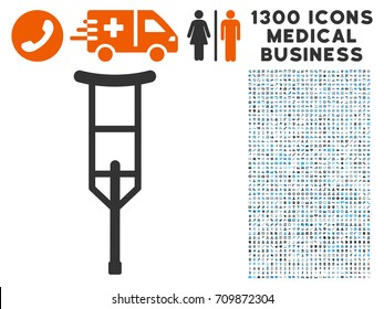 Crutch gray vector icon with 1300 medicine commercial icons. Collection style is flat bicolor light blue and gray pictograms.