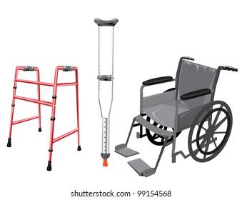 Crutch and wheelchair