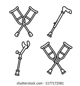 Crutches broken leg icons set. Outline set of crutches broken leg vector icons for web design isolated on white background
