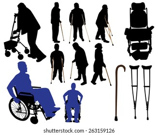 crutches canes wheelchairs vector silhouettes