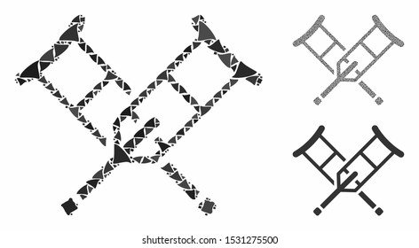 Crutches composition of irregular items in various sizes and shades, based on crutches icon. Vector irregular elements are united into collage. Crutches icons collage with dotted pattern.