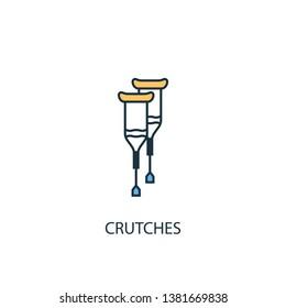 Crutches concept 2 colored line icon. Simple yellow and blue element illustration. Crutches concept outline symbol design