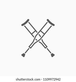 crutches icon, crutch vector