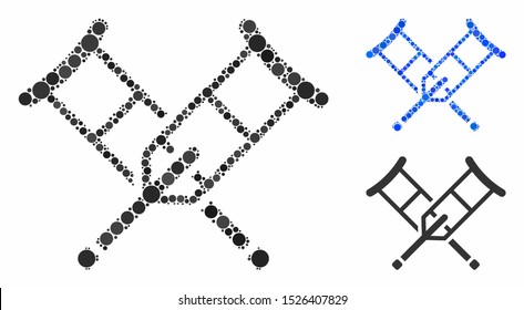 Crutches mosaic for crutches icon of circle elements in various sizes and color tones. Vector circle elements are organized into blue collage. Dotted crutches icon in usual and blue versions.
