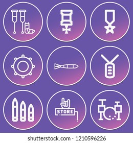 Crutches, submarine torpedo, dog tag, medal, bullets, music store, tambourine icon set suitable for info graphics, websites and print media and interfaces