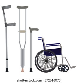 Crutches, wheelchair and walking sticks icon. Vector illustration