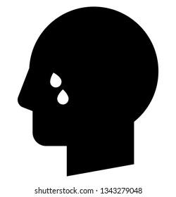 Cry icon. Vector icon of male profile with tears on face