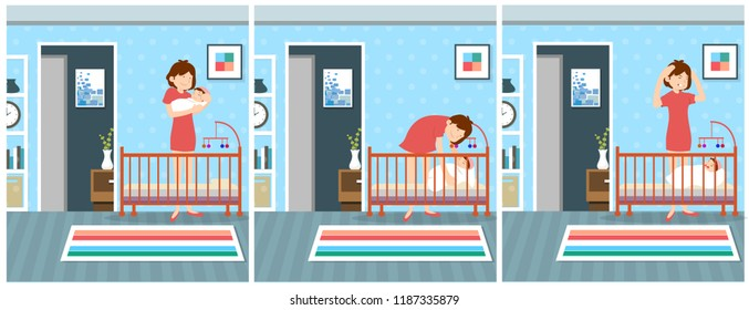 crying baby after her mom puts her to sleep cartoon illustration