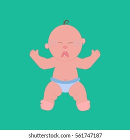Crying baby illustration on the green background. Vector illustration