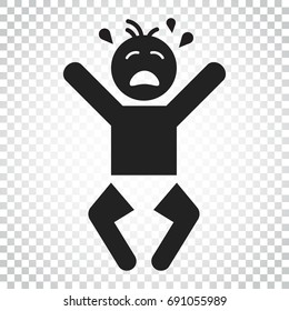 Crying baby vector icon. Anger emotions child flat illustration. Business concept simple flat pictogram on isolated background.