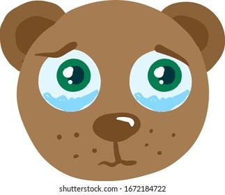 Crying bear, illustration, vector on white background.