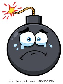 Crying Bomb Face Cartoon Mascot Character With Tears. Vector Illustration Isolated On White Background