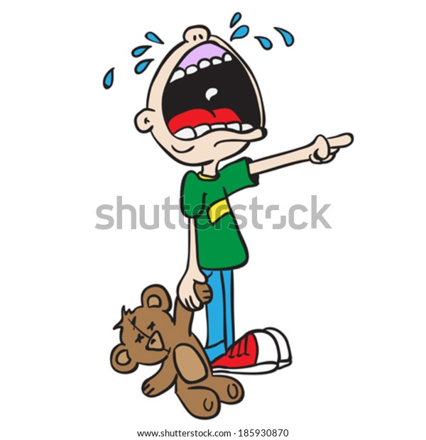 crying boy with bear toy cartoon