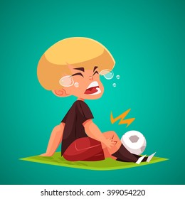 Crying Boy holding his injured knee. Concept Vector Illustration.  Injured Football Player