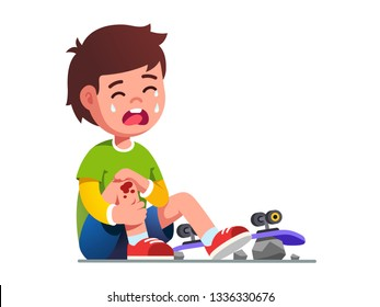 Crying boy kid fallen off skateboard. Child skater cartoon character holding painful wounded leg knee scratch & bruise with blood drips. Childhood, injury & extreme sports. Flat vector illustration