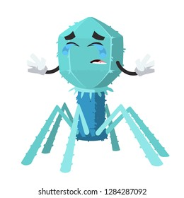 Crying cartoon bacteriophage cell mascot on white background isolated