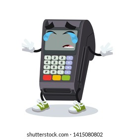 Crying cartoon EDC card swipe machine mascot on white background