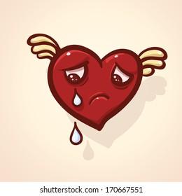 Crying cartoon heart