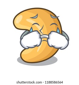 Crying cashew nuts hot baked on table cartoon
