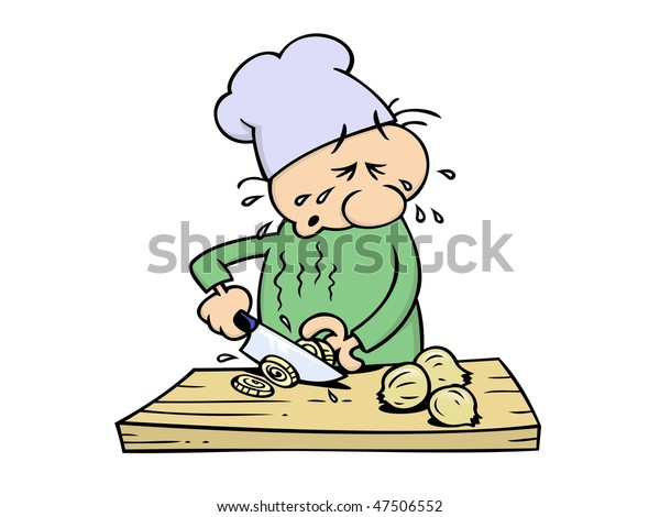 A crying chef slicing onions with a big kitchen knife